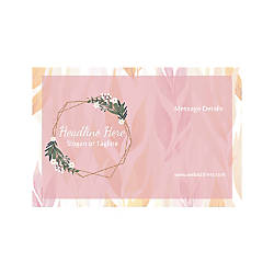 Adhesive Sign Horizontal Pink Leaves And