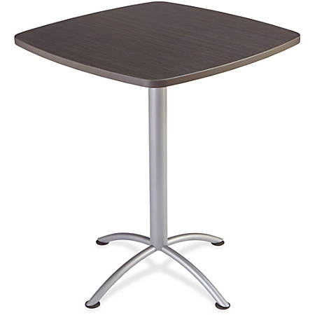 """Iceberg iLand 42""""H Square Bistro Table - Square Top - 36"""" Table Top Length x 36"""" Table Top Width x 1.13"""" Table Top Thickness - 42"""" Height - Assembly Required - Gray, Laminated, Silver - Particleboard"""