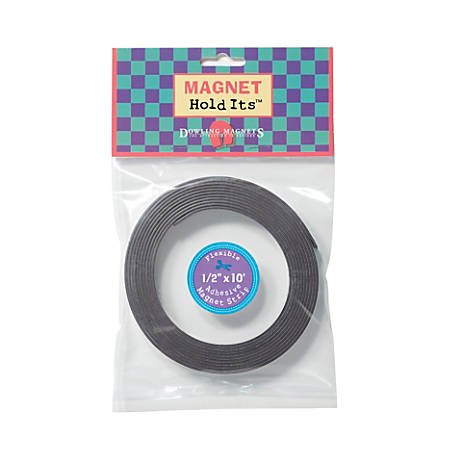 """Dowling Magnets Adhesive Magnet Strip, 1/2"""" x 10', Black, Pack Of 6 Rolls"""