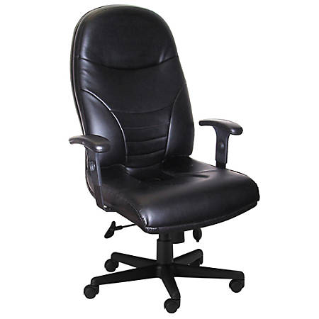 """Mayline® Group Comfort Series 9413 High-Back Leather Chair, 47 1/2""""H x 27""""W x 27""""D, Black Frame, Black Leather"""