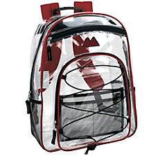 Trailmaker Water Resistant Clear Backpack Red