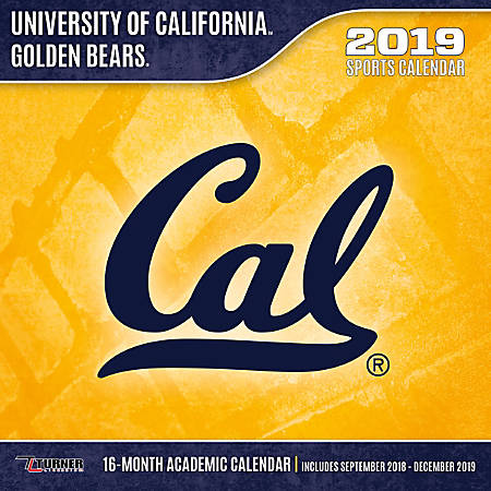 "Turner Sports Monthly Wall Calendar, 12"" x 12"", California Golden Bears, January to December 2019"