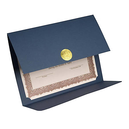 """First Base Gold Medallion FSC Certified Linen Certificate Holders, 9 1/4"""" x 12 1/2"""", 30% Recycled, Blue, Pack Of 5"""