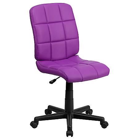 Flash Furniture Quilted Vinyl Mid-Back Swivel Task Chair, Purple/Black