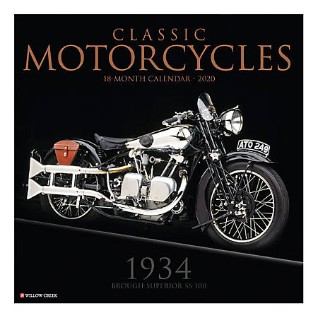 """Willow Creek Press Hobbies Monthly Wall Calendar, 12"""" x 12"""", Classic Motorcycles, January To December 2020"""