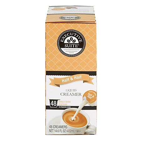 Executive Suite Half And Half Liquid Coffee Creamer Singles, 0.38 Oz, Box Of 48 Coffee Creamers