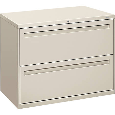 """HON® Brigade® 700 36""""W Lateral 2-Drawer File Cabinet, Metal, Light Gray"""
