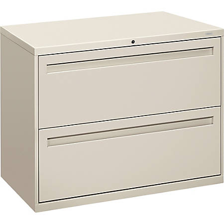 """HON® Brigade® 700 Series Lateral File, 2 Drawers, 28 3/8""""H x 36""""W x 19 1/4"""", Light Gray"""