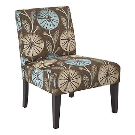 Ave Six Laguna Accent Chair, Dandelion Aqua/Dark Espresso