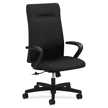 """HON Ignition Executive High-Back Chair - Fabric Black Seat - 5-star Base - 20"""" Seat Width x 18"""" Seat Depth - 27"""" Width x 38.5"""" Depth x 47.5"""" Height"""
