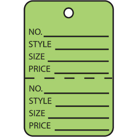 """Office Depot® Brand Garment Tags, Perforated, 1 3/4"""" x 2 7/8"""", 100% Recycled, Green, Case Of 1,000"""