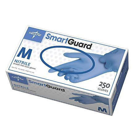 SmartGuard Powder-Free Nitrile Exam Gloves, Medium, Blue, 250 Gloves Per Box, Case Of 10 Boxes