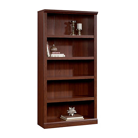 "Realspace® Premium 70""H 5-Shelf Bookcase, Brick Cherry"
