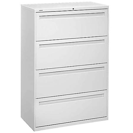 "HON® Brigade® 700 Series Lateral File, 4 Drawers, 53 1/4""H x 36""W x 19 1/4"", Light Gray"