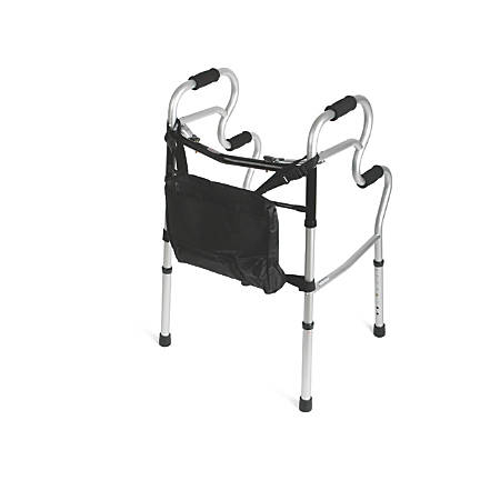 Medline Adult Stand-Assist 2-Button Folding Walkers, Gray, Case Of 2