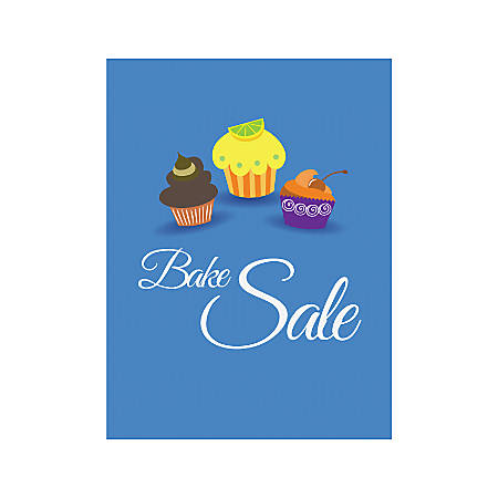 Plastic Sign, Bake Sale Blue, Vertical