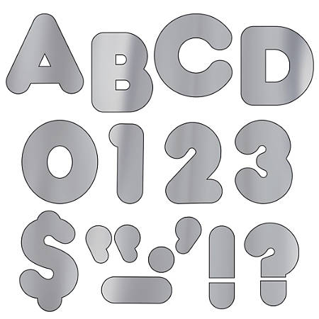 """TREND Ready Letters®, Metallic Casual, 2"""", Silver, Pre-K - Grade 12, Pack Of 142"""