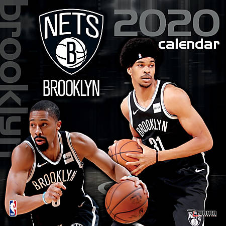 "Turner Licensing Monthly Wall Calendar, 12"" x 12"", Brooklyn Nets, 2020"