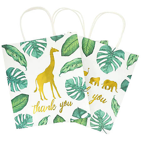 Juvale 12-Pack Jungle Safari Animal Thank You Kraft Gift Bags And 20 White Tissue Sheets For Baby Shower, 9 X 8 X 4 Inches