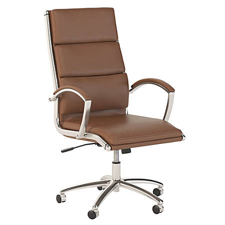 Bush Business Furniture Modelo High Back Leather Office Chair, Saddle Tan, Premium Installation