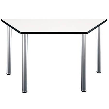"Bush Business Furniture Aspen Trapezoid Table, 57""W x 25""D, White Spectrum, Standard Delivery"