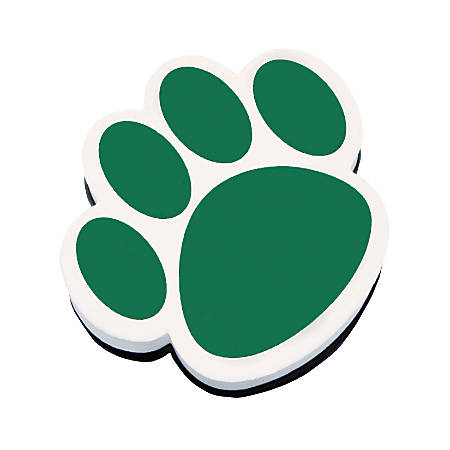 """Ashley Productions Magnetic Whiteboard Erasers, 3 3/4"""", Green Paw, Pack Of 6"""