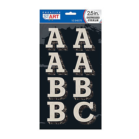 "Creative Start® Chalk Letters, 3"", Block, Black/Light Gray, Pack Of 84"
