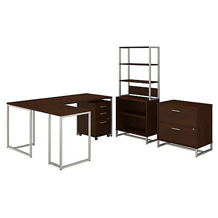 "kathy ireland® Office by Bush Business Furniture Method 72""W L-Shaped Desk With 30""W Return, File Cabinets And Bookcase, Century Walnut, Standard Delivery"