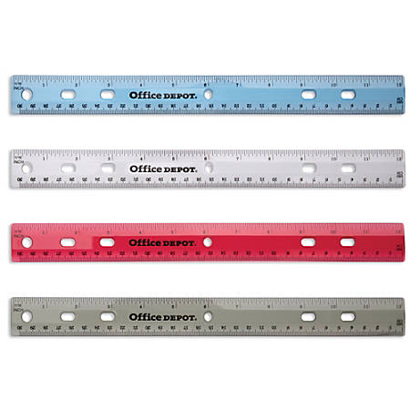 "Office Depot® Brand Transparent Plastic Ruler For Binders, 12"", Assorted Colors (No Color Choice)"