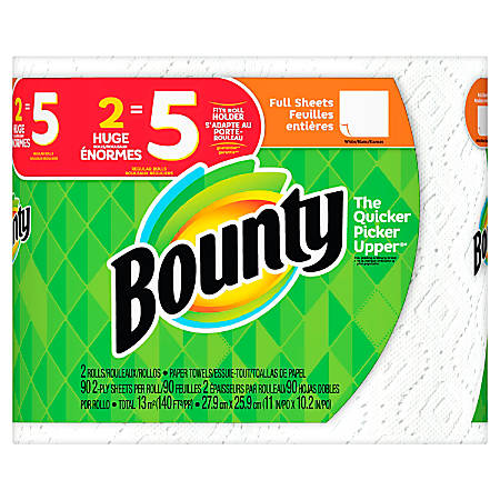 "Bounty 2-Ply Paper Towels, 11"" x 10 1/4"", White, Pack Of 2 Huge Rolls"