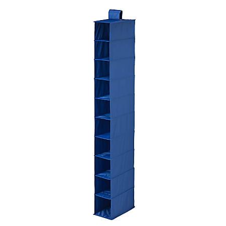 """Honey-Can-Do 10-Shelf Hanging Vertical Closet Organizer, 54""""H x 6""""W x 12""""D, Navy"""