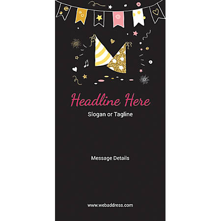 Custom Vertical Banner, Birthday Caps And Bunting