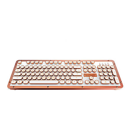 Azio Retro Classic Vintage Typewriter Wireless Hybrid Keyboard, Posh, MK-RETRO-L-02B-US