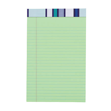 "Office Depot® Brand Fashion Legal Note Pad, 5"" x 8"", Narrow Rule, 100 Pages (50 Sheets), Stripe/Green"