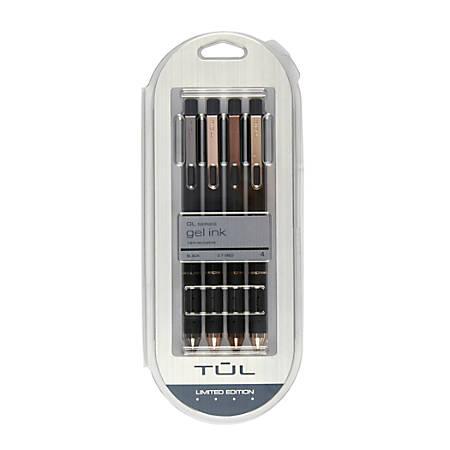 TUL® Retractable Gel Pens, Mixed Metals, Medium Point, 0.7 mm, Black Barrel, Black Ink, Pack of 4 Pens