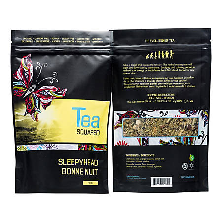 Tea Squared Sleepyhead Organic Loose Leaf Tea, 2.8 Oz, Carton Of 6 Bags