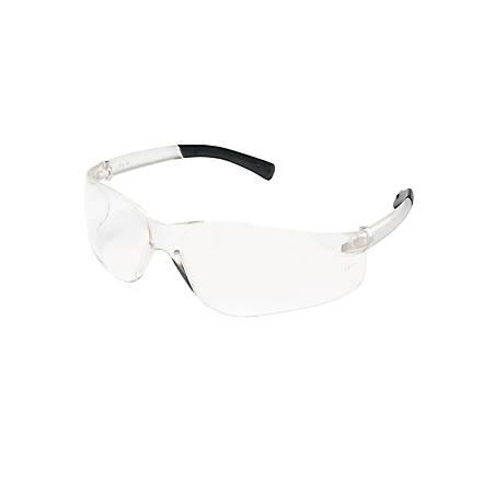 Crews BearKat Safety Glasses, Wraparound, Black Frame/Clear Lens