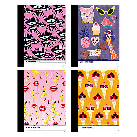 "Inkology Composition Books, 7-1/2"" x 9-3/4"", College Ruled, 200 Pages (100 Sheets), Kendra Dandy Designs, Pack Of 12 Notebooks"