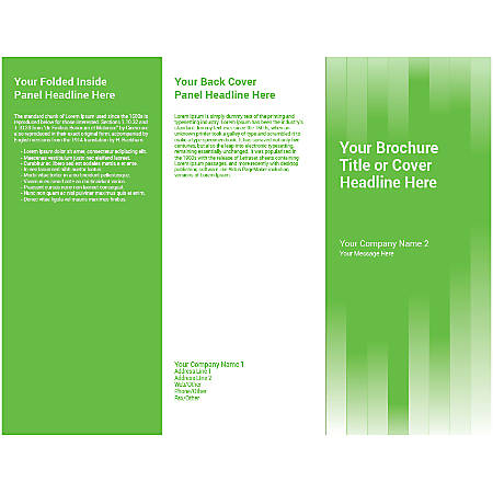 Customizable Trifold Brochure, Green Vertical Strips