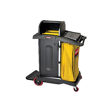 """Rubbermaid® High-Security Healthcare Cleaning Cart, 53 1/2""""H x 22""""W x 48 1/4""""D, Black"""