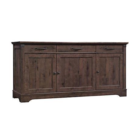 "Sauder® Carson Forge Credenza For 70"" TVs, Coffee Oak"