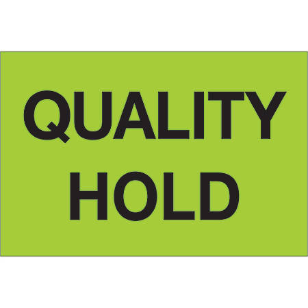 """Tape Logic® Preprinted Special Handling Labels, DL1132, Quality Hold, Rectangle, 2"""" x 3"""", Fluorescent Green, Roll Of 500"""