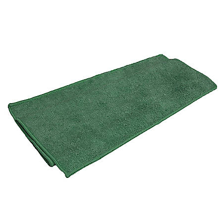 "Microfiber Technologies™ All-Purpose Microfiber Cleaning Cloths, 16"" x 16"", Green, Bag Of 12 Cloths"