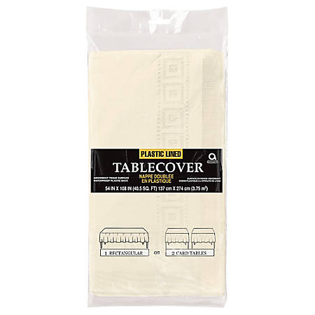 """Amscan Paper Table Covers, 54"""" x 108"""", Vanilla Crème, Pack Of 5 Table Covers"""