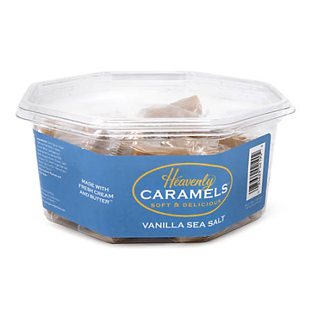 Heavenly Caramels Soft And Delicious Vanilla Sea Salt Caramels, 0.4 Oz, Tub Of 45 Pieces