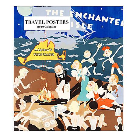 "Retrospect Travel Poster Monthly Desk Calendar, 6-1/4"" x 5-1/2"", January To December 2020, YCD 019-20"