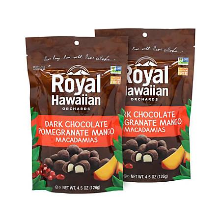 Royal Hawaiian Dark Chocolate Pomegranate Mango Macadamias, 4.5 Oz, Pack Of 2 Bags