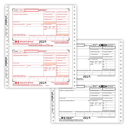 """ComplyRight™ W-2 Continuous Tax Forms, 6-Part Employee Combination Set, 9 1/2"""" x 11"""", Pack Of 100 Forms"""
