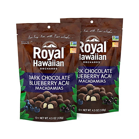 Royal Hawaiian Dark Chocolate Blueberry Açai Macadamia Nuts, 4.5 Oz, Pack Of 2 Pouches