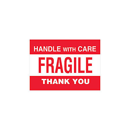 "Tape Logic® Preprinted Pallet Protection Labels, DL3182, 6"" x 4"", ""Handle With Care / Fragile / Thank You,"" Red/White, Roll Of 500"